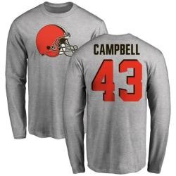 Men's Elijah Campbell Cleveland Browns Name & Number Logo Long Sleeve T-Shirt - Ash