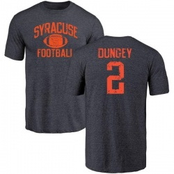 Men's Eric Dungey Syracuse Orange Distressed Football Tri-Blend T-Shirt - Navy