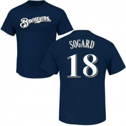 Men's Eric Sogard Milwaukee Brewers Roster Name & Number T-Shirt - Navy