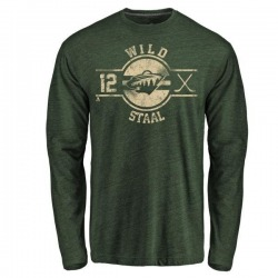 Men's Eric Staal Minnesota Wild Insignia Tri-Blend Long Sleeve T-Shirt - Green
