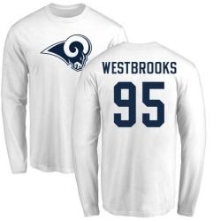 Men's Ethan Westbrooks Los Angeles Rams Name & Number Logo Long Sleeve T-Shirt - White