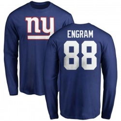 Men's Evan Engram New York Giants Name & Number Logo Long Sleeve T-Shirt - Royal