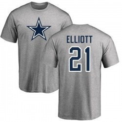 Men's Ezekiel Elliott Dallas Cowboys Name & Number Logo T-shirt - Gray