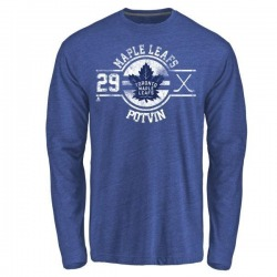 Men's Felix Potvin Toronto Maple Leafs Insignia Tri-Blend Long Sleeve T-Shirt - Royal