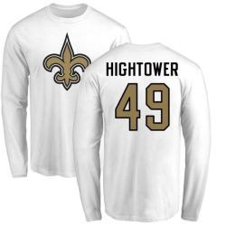 Men's Forrest Hightower New Orleans Saints Name & Number Logo Long Sleeve T-Shirt - White