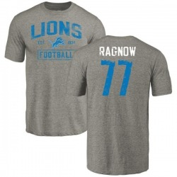 Men's Frank Ragnow Detroit Lions Gray Distressed Name & Number Tri-Blend T-Shirt