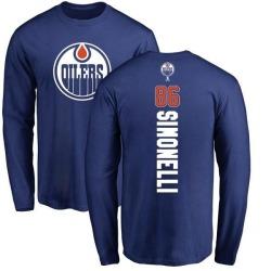 Men's Frankie Simonelli Edmonton Oilers Backer Long Sleeve T-Shirt - Royal