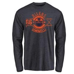 Men's Frankie Simonelli Edmonton Oilers Insignia Tri-Blend Long Sleeve T-Shirt - Royal