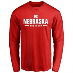 Men's Fyn Anderson Nebraska Cornhuskers Sport Wordmark Long Sleeve T-Shirt - Scarlet