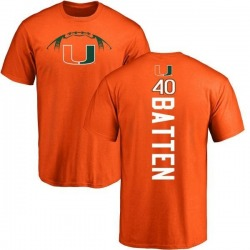 Men's Gage Batten Miami Hurricanes Football Backer T-Shirt - Orange