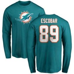 Men's Gavin Escobar Miami Dolphins Name & Number Logo Long Sleeve T-Shirt - Aqua