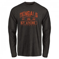 Men's Geno Atkins Cincinnati Bengals Flanker Tri-Blend Long Sleeve T-Shirt - Black