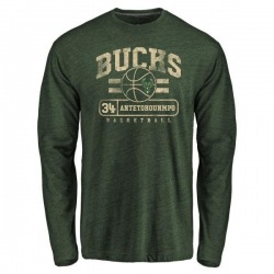 Men's Giannis Antetokounmpo Milwaukee Bucks Green Baseline Tri-Blend Long Sleeve T-Shirt