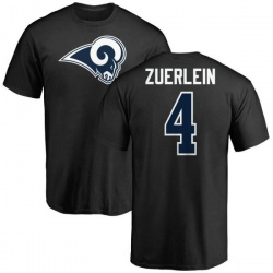Men's Greg Zuerlein Los Angeles Rams Name & Number Logo T-Shirt - Black