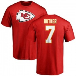 Men's Harrison Butker Kansas City Chiefs Name & Number Logo T-Shirt - Red