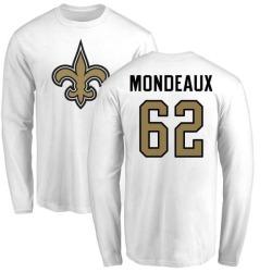 Men's Henry Mondeaux New Orleans Saints Name & Number Logo Long Sleeve T-Shirt - White