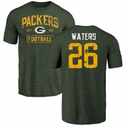 Men's Herb Waters Green Bay Packers Green Distressed Name & Number Tri-Blend T-Shirt