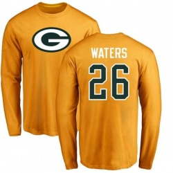 Men's Herb Waters Green Bay Packers Name & Number Logo Long Sleeve T-Shirt - Gold