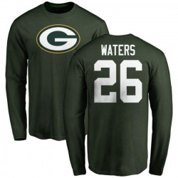 Men's Herb Waters Green Bay Packers Name & Number Logo Long Sleeve T-Shirt - Green