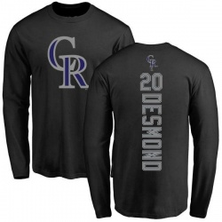 Men's Ian Desmond Colorado Rockies Backer Long Sleeve T-Shirt - Black