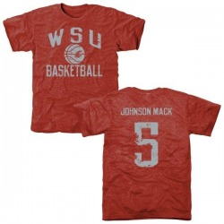 Men's Isaiah Johnson-Mack Washington State Cougars Distressed Basketball Tri-Blend T-Shirt - Crimson