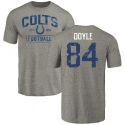 Men's Jack Doyle Indianapolis Colts Gray Distressed Name & Number Tri-Blend T-Shirt