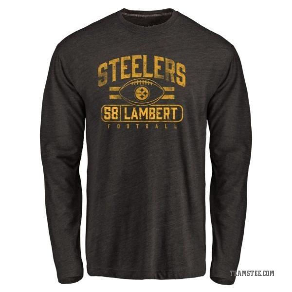 d7bebde07 Men s Jack Lambert Pittsburgh Steelers Flanker Tri-Blend Long Sleeve T-Shirt  - Black