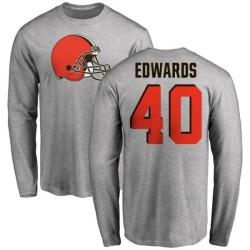 Men's Jahwan Edwards Cleveland Browns Name & Number Logo Long Sleeve T-Shirt - Ash
