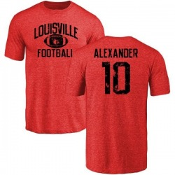 Men's Jaire Alexander Louisville Cardinals Distressed Football Tri-Blend T-Shirt - Burgundy