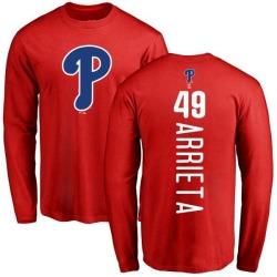 Men's Jake Arrieta Philadelphia Phillies Backer Long Sleeve T-Shirt - Red