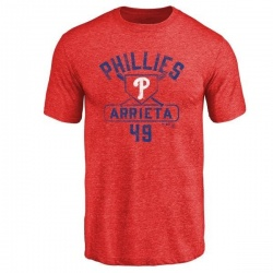 Men's Jake Arrieta Philadelphia Phillies Base Runner Tri-Blend T-Shirt - Red