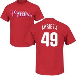 Men's Jake Arrieta Philadelphia Phillies Roster Name & Number T-Shirt - Red
