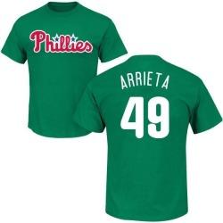 Men's Jake Arrieta Philadelphia Phillies St. Patrick's Day Roster Name & Number T-Shirt - Green