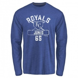 Men's Jakob Junis Kansas City Royals Base Runner Tri-Blend Long Sleeve T-Shirt - Royal
