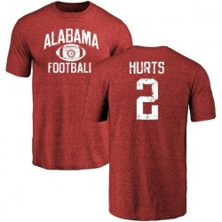 Men's Jalen Hurts Alabama Crimson Tide Distressed Football Tri-Blend T-Shirt - Crimson