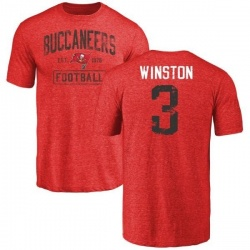 Men's Jameis Winston Tampa Bay Buccaneers Red Distressed Name & Number Tri-Blend T-Shirt