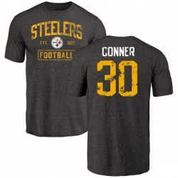 Men's James Conner Pittsburgh Steelers Black Distressed Name & Number Tri-Blend T-Shirt