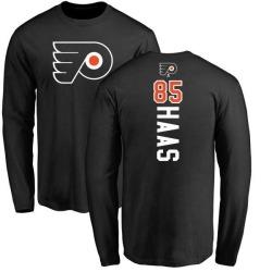 Men's James De Haas Philadelphia Flyers Backer Long Sleeve T-Shirt - Black