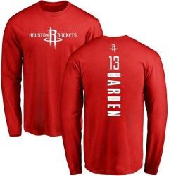 Men's James Harden Houston Rockets Red Backer Long Sleeve T-Shirt