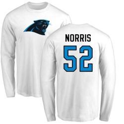 Men's Jared Norris Carolina Panthers Name & Number Logo Long Sleeve T-Shirt - White