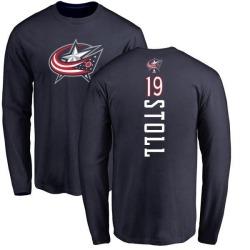 Men's Jarret Stoll Columbus Blue Jackets Backer Long Sleeve T-Shirt - Navy