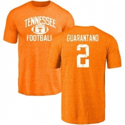 Men's Jarrett Guarantano Tennessee Volunteers Distressed Football Tri-Blend T-Shirt - Tennessee Orange