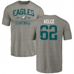 Men's Jason Kelce Philadelphia Eagles Gray Distressed Name & Number Tri-Blend T-Shirt