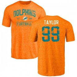 Men's Jason Taylor Miami Dolphins Orange Distressed Name & Number Tri-Blend T-Shirt