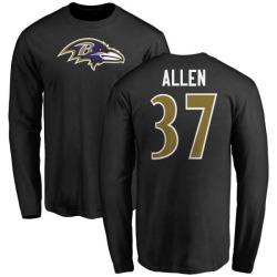 Men's Javorius Allen Baltimore Ravens Name & Number Logo Long Sleeve T-Shirt - Black