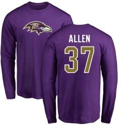 Men's Javorius Allen Baltimore Ravens Name & Number Logo Long Sleeve T-Shirt - Purple