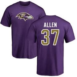 Men's Javorius Allen Baltimore Ravens Name & Number Logo T-Shirt - Purple