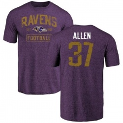 Men's Javorius Allen Baltimore Ravens Purple Distressed Name & Number Tri-Blend T-Shirt