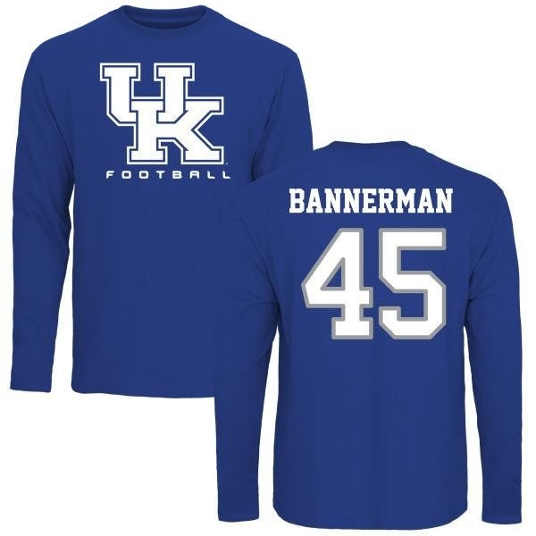 quality design d82d2 63cc8 Men's Jaylin Bannerman Kentucky Wildcats Football Long Sleeve T-Shirt -  Royal - Teams Tee