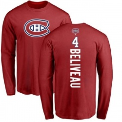 Men's Jean Beliveau Montreal Canadiens Backer Long Sleeve T-Shirt - Red